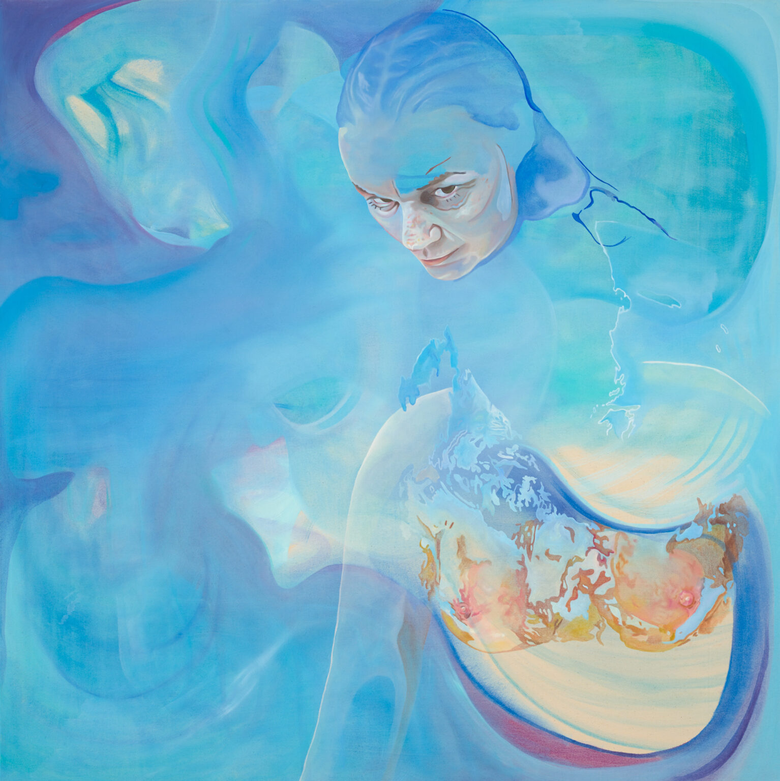 Meermutter I, Öl auf Leinwand, 1,20×1,20m, 2020