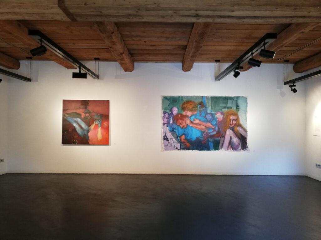 blurred memories II, 2020, 130x120cm, oil on canvas:blurred memories III, 2020, 260x180cm, oil on canvas