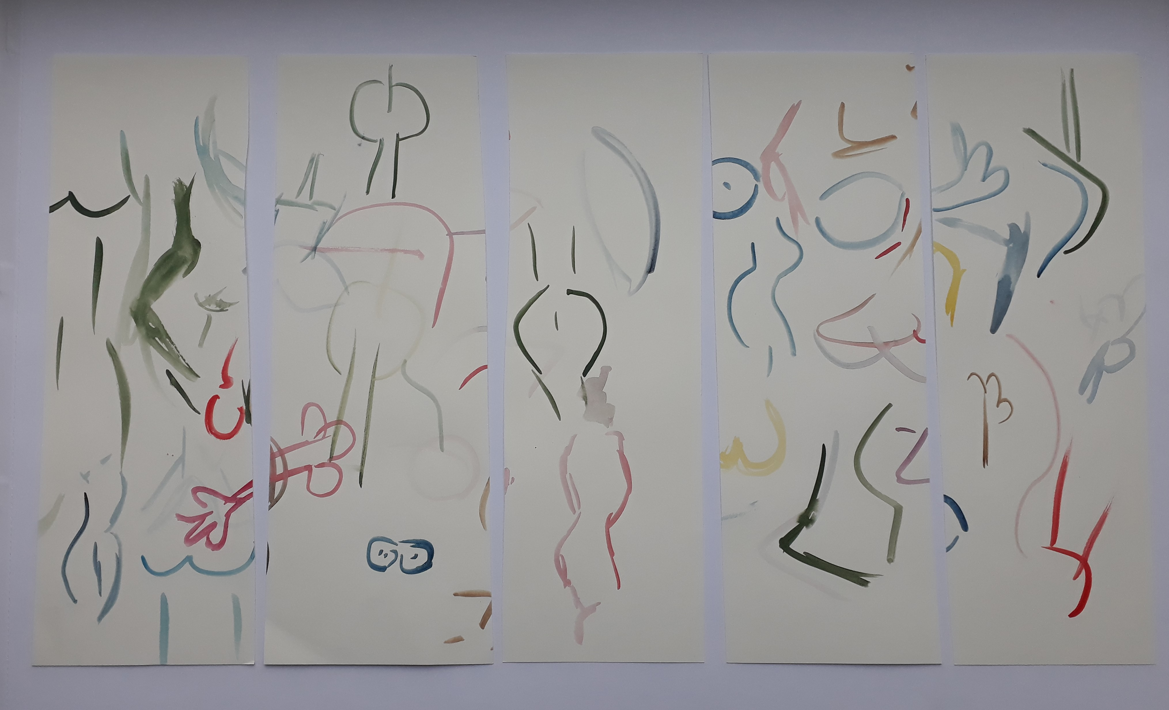 Free Bodies, 2019, Aquarell auf Papier, 56x30cm
