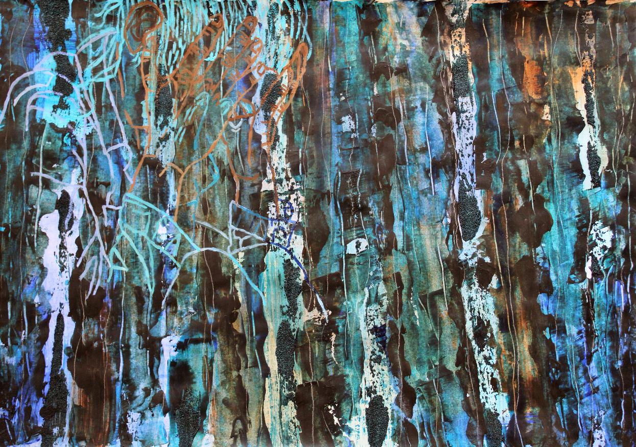 o.T., 2020, Acryl, Mörtel, Pastellkreide auf Papier, 42x59,4 cm