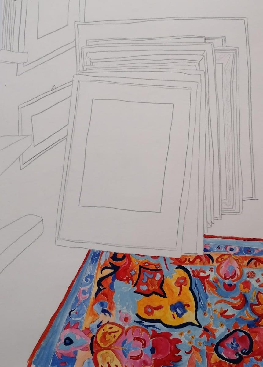 Kein Titel, 2020, Bleistift und Acryl, 23,8 cm x 33 cm