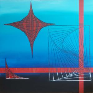 Blaue Graphik, 2020, Acryl auf Leinwand, 100x100cm